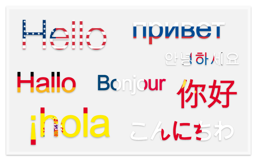 Hello translated in various languages