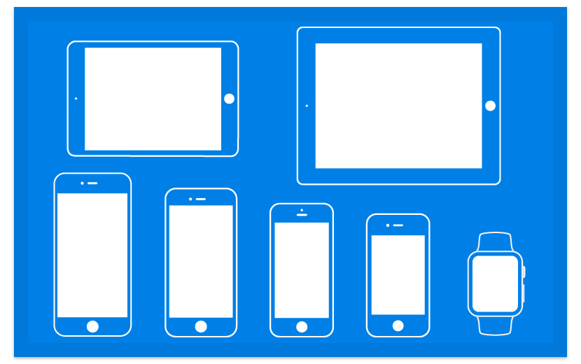 Image of a blueprint paper with iPhone and iPad mockup on it